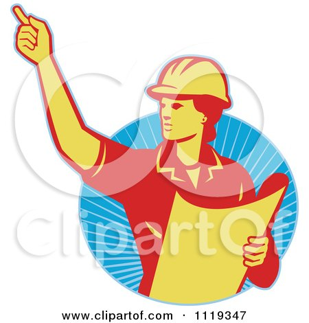 Clipart Of A Retro Construction Engineerwoman Directing And Holding Blueprints Over Rays - Royalty Free Vector Illustration by patrimonio