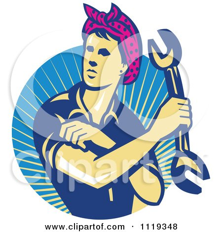 Clipart Of A Retro Female Auto Mechanic Flexing And Holding A Wrench Over Rays - Royalty Free Vector Illustration by patrimonio