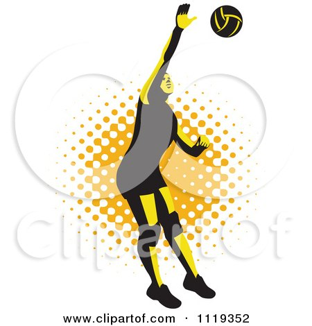 Clipart Of A Retro Female Volleyball Player Spiking Over Halftone - Royalty Free Vector Illustration by patrimonio