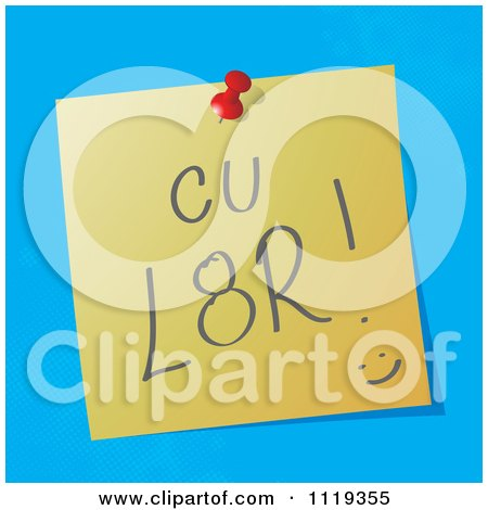 Cartoon Of A CU L8R See You Later Written Acronym On A Pinned Note  - Royalty Free Vector Clipart by MilsiArt