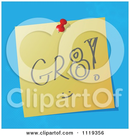 Cartoon Of A GR8 Great Written Acronym On A Pinned Note  - Royalty Free Vector Clipart by MilsiArt