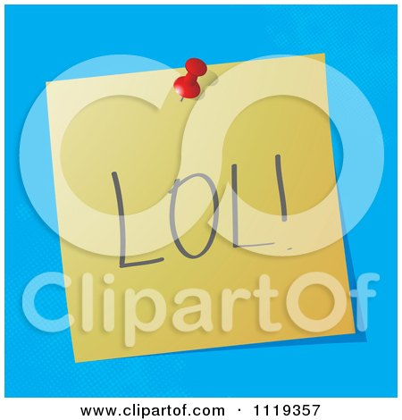 Cartoon Of A LOL Laugh Out Loud Written Acronym On A Pinned Note  - Royalty Free Vector Clipart by MilsiArt