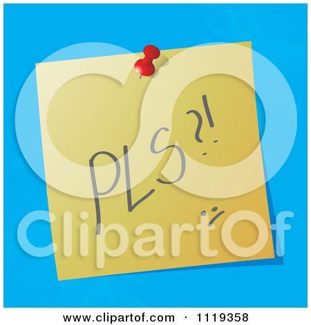 Cartoon Of A PLS Please Written Acronym On A Pinned Note  - Royalty Free Vector Clipart by MilsiArt