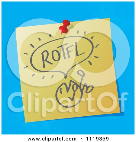 Cartoon Of A ROTFL Roll On The Floor Laughing Written Acronym On A Pinned Note  - Royalty Free Vector Clipart by MilsiArt