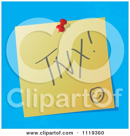 Cartoon Of A TNX Thanks Written Acronym On A Pinned Note  - Royalty Free Vector Clipart by MilsiArt