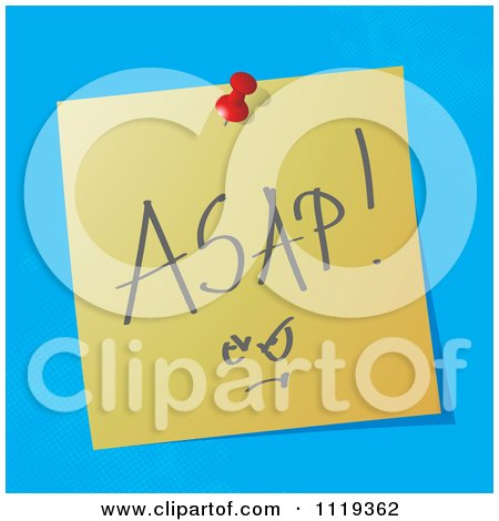 Cartoon Of A Handwritten ASAP Message On A Pinned Note  - Royalty Free Vector Clipart by MilsiArt