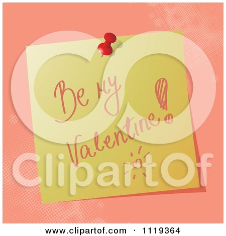 Cartoon Of A Handwritten Be My Valentine Message On A Pinned Note  - Royalty Free Vector Clipart by MilsiArt