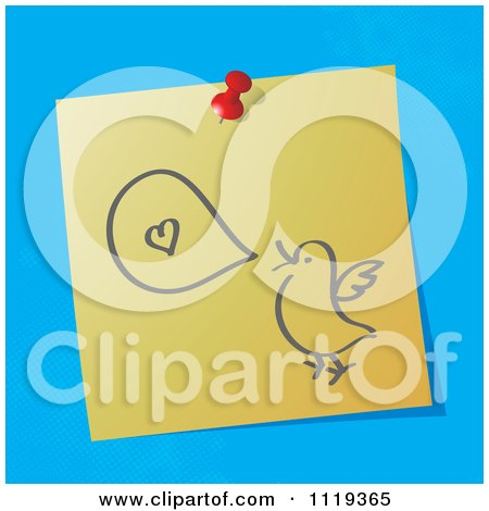 Cartoon Of A Sketched Talking Love Bird On A Pinned Note  - Royalty Free Vector Clipart by MilsiArt