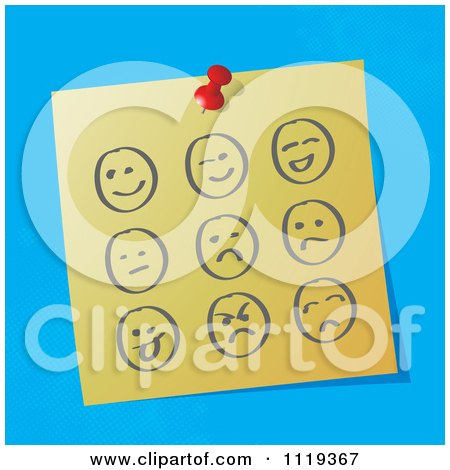 Cartoon Of Sketched Moody Faces On A Pinned Note  - Royalty Free Vector Clipart by MilsiArt