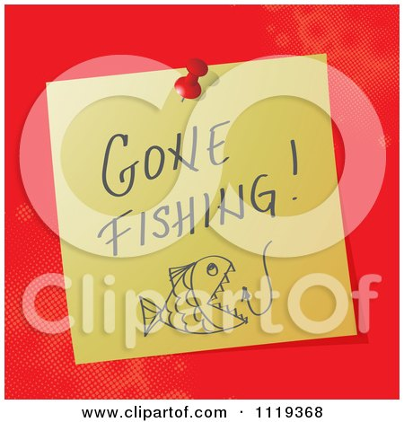 Cartoon Of A Handwritten Gone Fishing Message On A Pinned Note  - Royalty Free Vector Clipart by MilsiArt