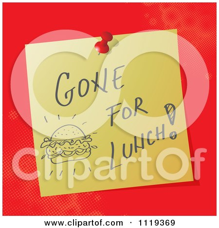 Cartoon Of A Handwritten Gone For Lunch Message On A Pinned Note  - Royalty Free Vector Clipart by MilsiArt