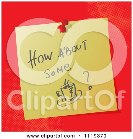 Cartoon Of A Handwritten How About Some Coffee Message On A Pinned Note  - Royalty Free Vector Clipart by MilsiArt
