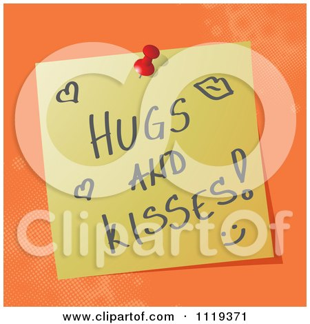 Cartoon Of A Handwritten Hugs And Kisses Message On A Pinned Note  - Royalty Free Vector Clipart by MilsiArt