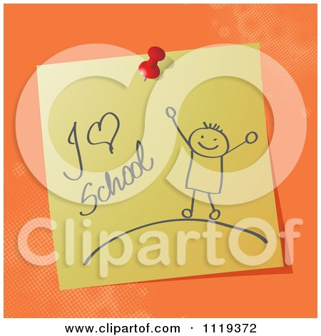 Cartoon Of A Handwritten I Love School Message On A Pinned Note  - Royalty Free Vector Clipart by MilsiArt