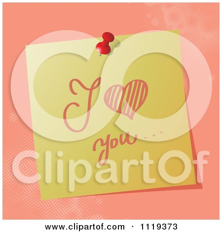 Cartoon Of A Handwritten I Love You Message On A Pinned Note  - Royalty Free Vector Clipart by MilsiArt