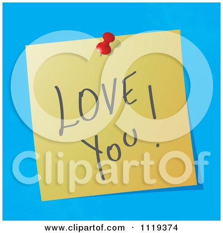Cartoon Of A Handwritten Love You Message On A Pinned Note  - Royalty Free Vector Clipart by MilsiArt