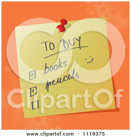 Cartoon Of A Handwritten School Shopping List On A Pinned Note  - Royalty Free Vector Clipart by MilsiArt