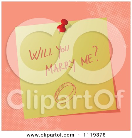 Cartoon Of A Handwritten Will You Marry Me Message On A Pinned Note  - Royalty Free Vector Clipart by MilsiArt