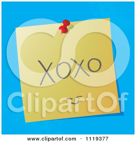 Cartoon Of A Handwritten XOXO Message On A Pinned Note  - Royalty Free Vector Clipart by MilsiArt