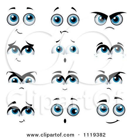 Cartoon Of Expressional Blue Eyes - Royalty Free Vector Clipart by MilsiArt