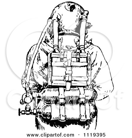 Clipart Of A Retro Vintage Black And White Deep Sea Diver Suit 3 - Royalty Free Vector Illustration by Prawny Vintage