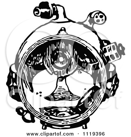 Clipart Of A Retro Vintage Black And White Deep Sea Diver Suit Mask - Royalty Free Vector Illustration by Prawny Vintage