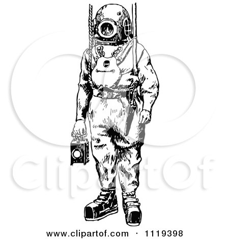 Clipart Of A Retro Vintage Black And White Deep Sea Diver Suit 1 - Royalty Free Vector Illustration by Prawny Vintage