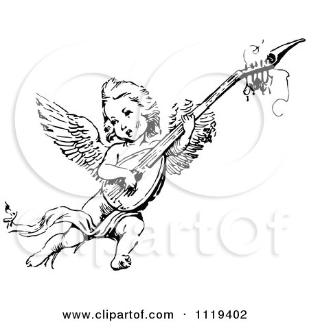 Clipart Of A Retro Vintage Black And White Cherub Playing An Instrument - Royalty Free Vector Illustration by Prawny Vintage