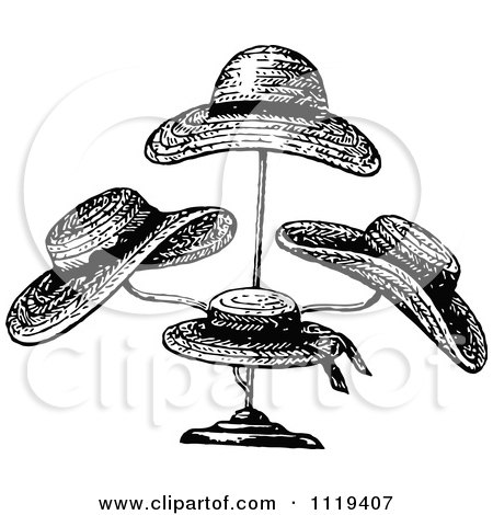 Clipart Of Retro Vintage Black And White Straw Hats On A
