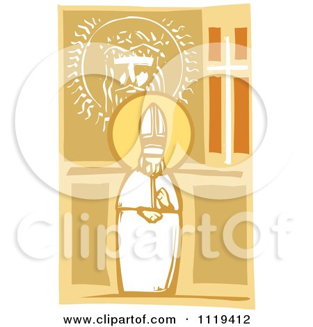 Clipart Of A Woodcut Pope And Image Of Christ - Royalty Free Vector Illustration by xunantunich