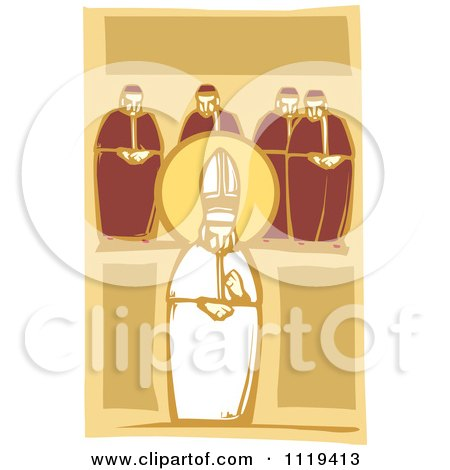 Clipart Of A Woodcut Pope And Cardinals - Royalty Free Vector Illustration by xunantunich