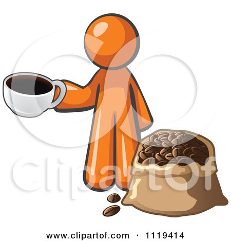 Cartoon Of An Orange Man With A Cup Of Coffee Over A Bag Of Beans - Royalty Free Vector Clipart by Leo Blanchette