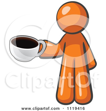 Cartoon Of An Orange Man Barista With A Cup Of Coffee - Royalty Free Vector Clipart by Leo Blanchette