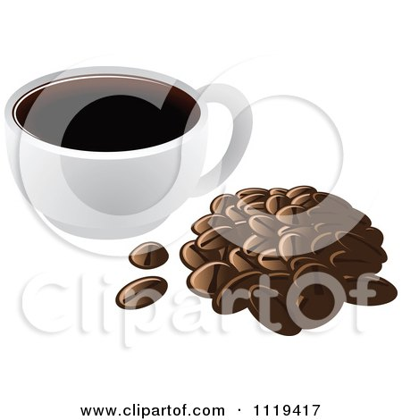 Cartoon Of A Cup Of Coffee With A Pile Of Beans - Royalty Free Vector Clipart by Leo Blanchette