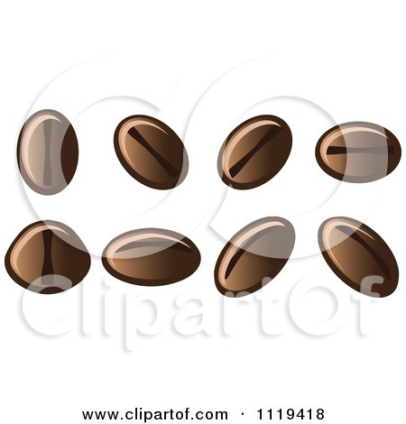 Cartoon Of Coffee Bean Seeds - Royalty Free Vector Clipart by Leo Blanchette