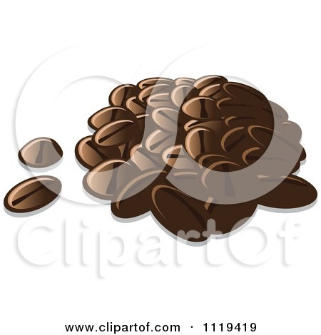 Cartoon Of A Pile Of Coffee Beans - Royalty Free Vector Clipart by Leo Blanchette