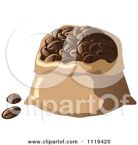 Cartoon Of A Sack Of Coffee Beans - Royalty Free Vector Clipart by Leo Blanchette
