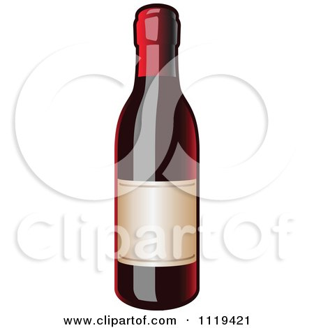 Clipart Of A Bottle Of Red Wine - Royalty Free Vector Illustration by Leo Blanchette