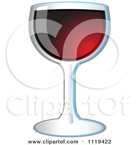 Clipart Of A Glass Of Red Wine - Royalty Free Vector Illustration by Leo Blanchette