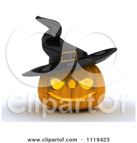 Clipart Of A 3d Halloween Jackolantern Pumpkin Wearing A Witch Hat - Royalty Free CGI Illustration by KJ Pargeter