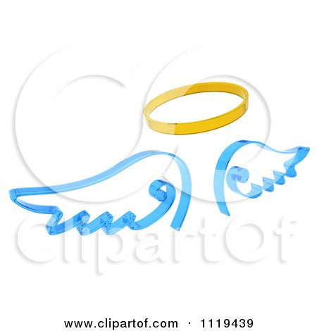 Clipart Of 3d Blue Angel Wings And A Golden Halo - Royalty Free CGI Illustration by KJ Pargeter