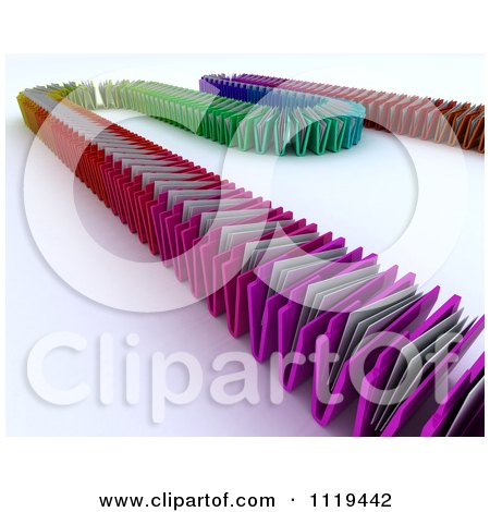 Clipart Of A 3d Line Of Colorful Document Folders - Royalty Free CGI Illustration by KJ Pargeter