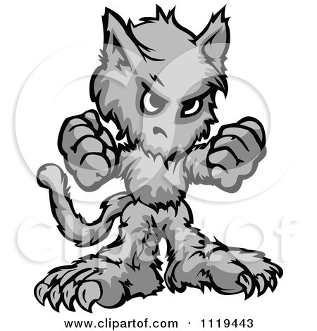Cartoon Of A Tough Halloween Wolfman Holding Up Two Fists - Royalty Free Vector Clipart by Chromaco