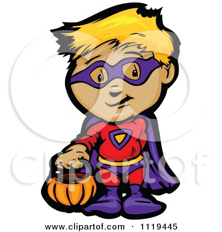 Cartoon Of A Halloween Kid In A Super Hero Costume Holding Out A Pumpkin And A Trick Behind His Back - Royalty Free Vector Clipart by Chromaco