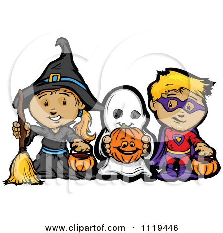 Cartoon Of Halloween Kids In Witch Ghost And Super Hero Costumes Royalty Free Vector Clipart