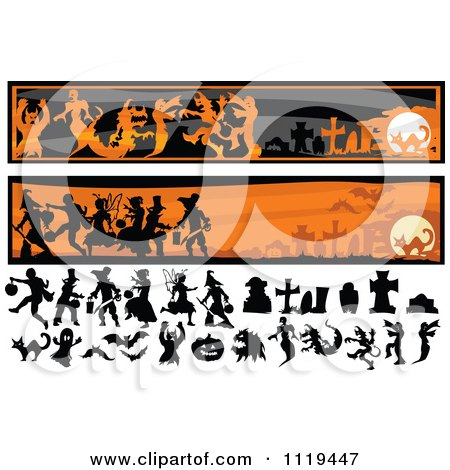 Cartoon Of Halloween Silhouettes And Website Banners - Royalty Free Vector Clipart by Chromaco