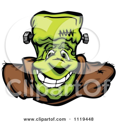 Cartoon Of A Halloween Happy Frankenstein Face - Royalty Free Vector Clipart by Chromaco