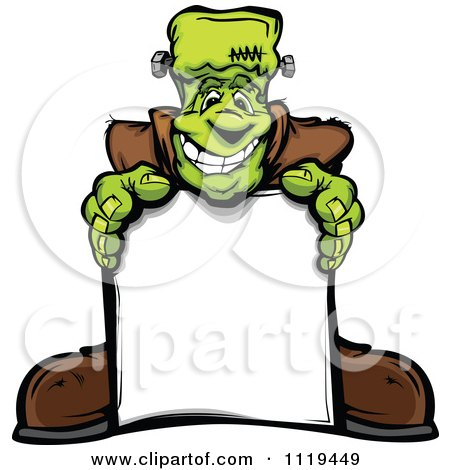 Cartoon Of A Halloween Happy Frankenstein Standing Behind A Sign - Royalty Free Vector Clipart by Chromaco