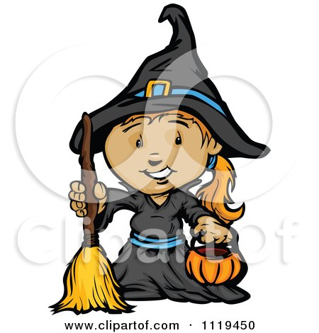 Cartoon Of A Halloween Girl In A Witch Costume Holding A Pumpkin Container - Royalty Free Vector Clipart by Chromaco