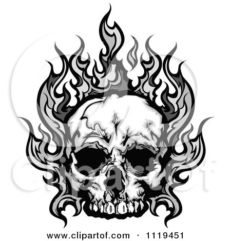 flaming skull coloring pages | Clipart Fiery Skull And Blank Banner With Flames - Royalty ...